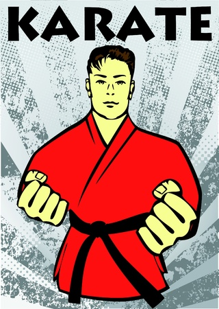 kumite: Karate poster. martial arts colored emblem, symbol. Karate style. Japan, Korea, Okinawa, China, Brazil, USA.Vector .