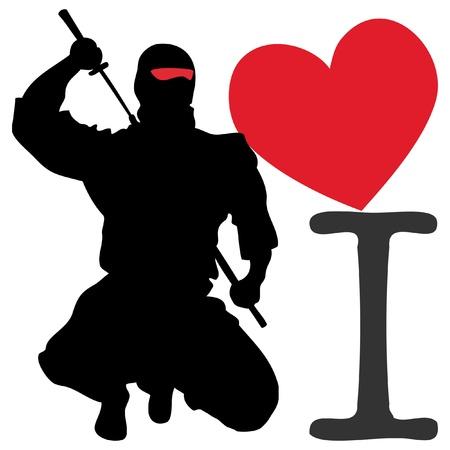 Me encanta cartel de ninja. las artes marciales emblema de color, simbol.