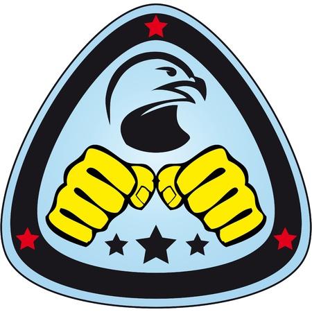 ju jutsu: Martial arts emblem, simbol   Hawk, fists  Illustration