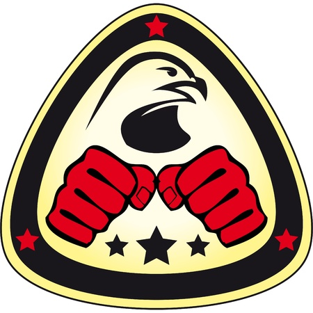 kyokushinkai: Martial arts emblem, simbol   Hawk, fists  Illustration