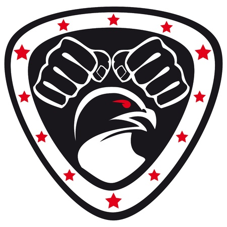 ju jutsu: Martial arts emblem, simbol   Hawk, fists  Illustration