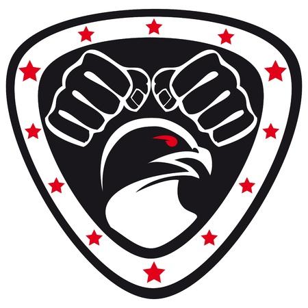 Vechtsporten embleem, simbol Hawk, vuisten