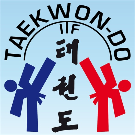 dojo: MARTIAL ARTS taekwon-do  ORIGINAL BACKGROUND VINTAGE TEXTURE Illustration