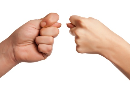hand gesture, sign on white background photo