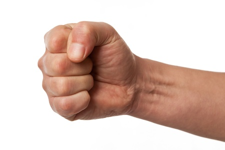 Power fist on white background  hand gesture, sign on white Stock Photo