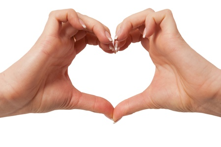 Heart in hand on white background  hand gesture, sign on white Stock Photo - 12885347