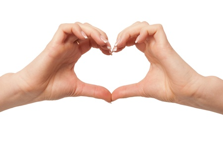 Heart in hand on white background  hand gesture, sign on white photo