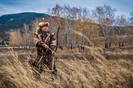 kazakh: Kazakh, hungarian warrior with bow. Hunter. Editorial