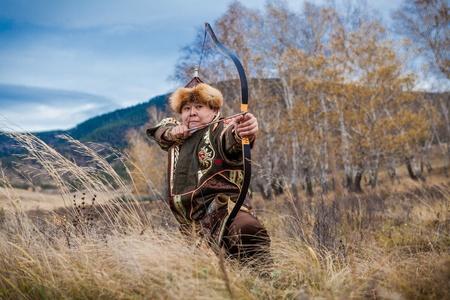 kazakh: Kazakh, hungarian warrior whith bow. Hunter.