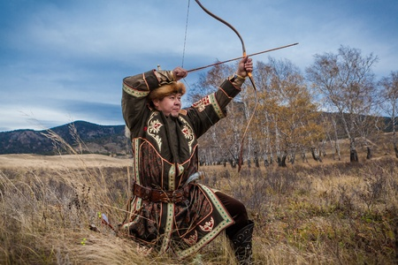 kazakh: Kazakh, hungarian warrior whith bow. Hunter.