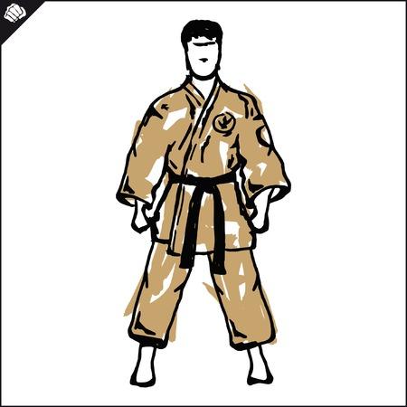 Martial arts karate, taekwondo,hapkido,jiu jitsu Illustration