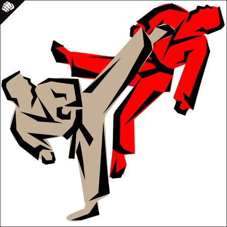 kudo: Martial arts-KARATE fighters in dogi, kimono.