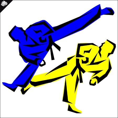 dan: Martial arts-KARATE fighters in dogi, kimono.
