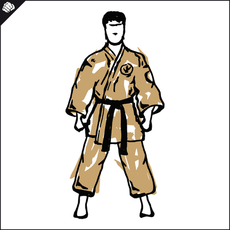 Martial arts. Karate fighters silquette high kick.