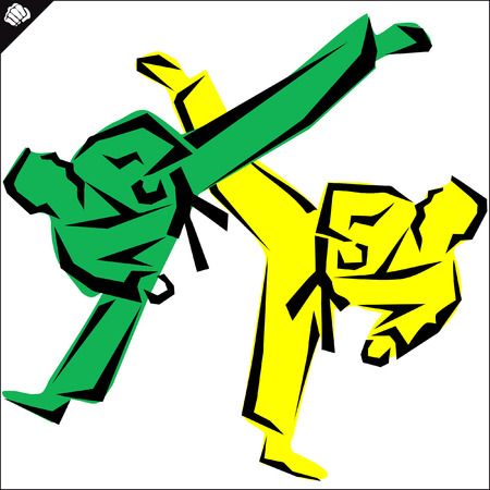 kyokushinkai: Martial arts. Karate fighters silquette high kick.