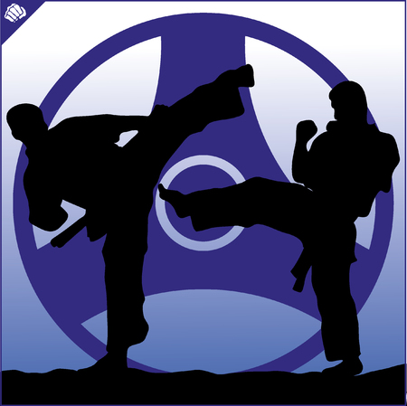 kyokushinkai: Fighting combat. Fighter in kimono, dogi taekwondo, hapkido