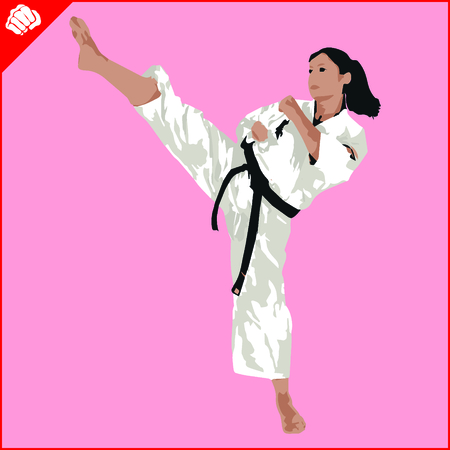 ju jutsu: Martial arts. Karate woman fighter silhouette scene. Vector. EPS. Illustration