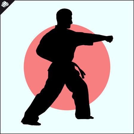Fighting combat Fighter in kimono dogi taekwondo hapkido Vector EPS 版權商用圖片