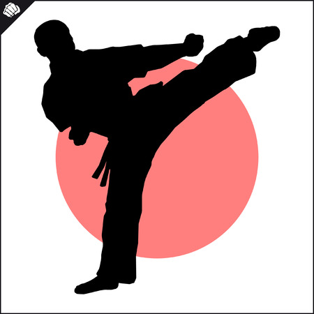 Martial arts. Karate fighters high kick scene.