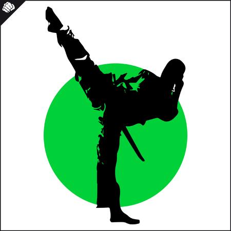 Fighter in kimono dogi taekwondo hapkido Vector EPS