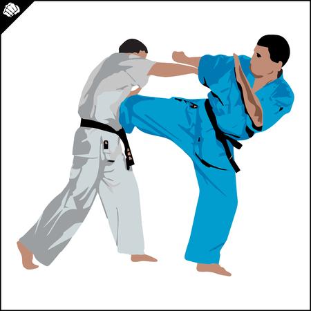 Combat Kudo Fighters in kimono dogi taekwondo hapkido Vector EPS Stock Photo