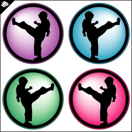 Martial art colored simbol, logo. Karate creative design emblem.