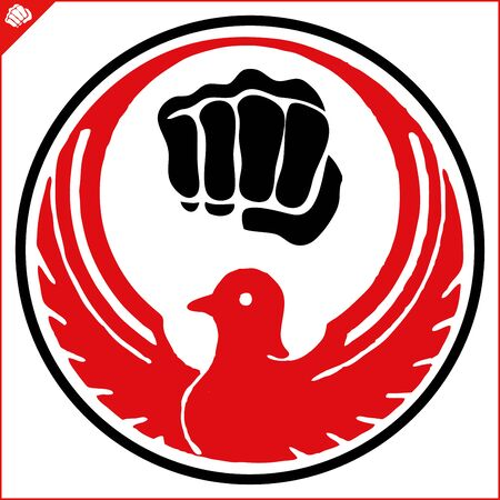 Martial art colored symbol design. Karate emblem. Ilustração