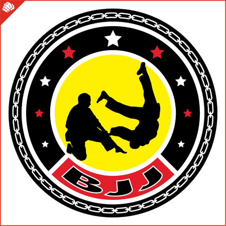 Brasilian jiu jitsu, BJJ emblem. Martial art colored simbol design. Vector, EPS.
