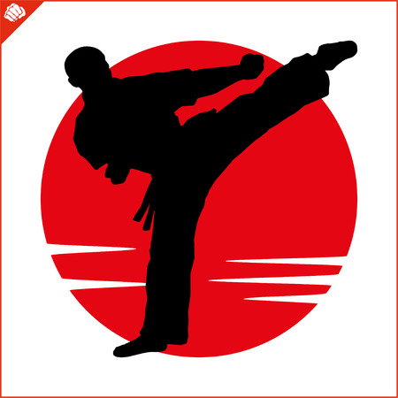Martial art colored simbol, logo. Karate creative design emblem.