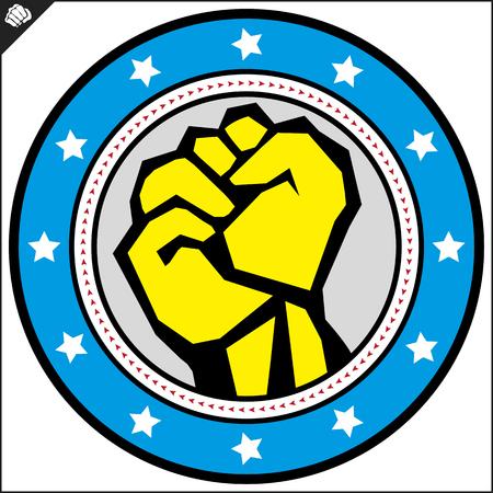Karate power fist emblem. Martial art colored simbol design. Vector, EPS. Illustration
