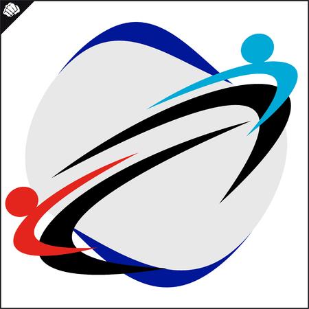 Karate high kick emblem. Martial art colored simbol design. Vector, EPS. 矢量图像