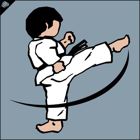 Martial art colored symbol. Karate creative design emblem. Vektorové ilustrace