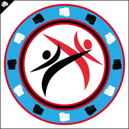 Karate high kick emblem. Martial art colored simbol design. Vector, EPS. Illustration