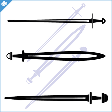 Set of vintage double edged one-handed swords. Knightly art of fencing.