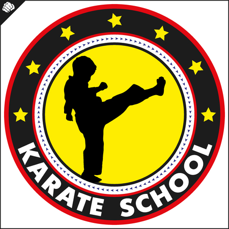Karate high kick emblem. Martial art colored simbol design. Vector, EPS. 矢量图像