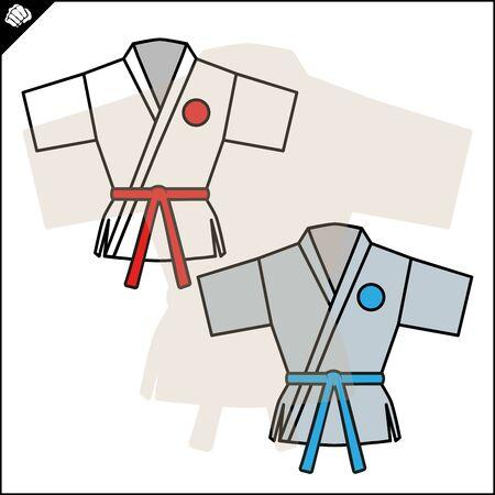 Fighting colored symbol, logo. Karate creative design emblem Ilustração
