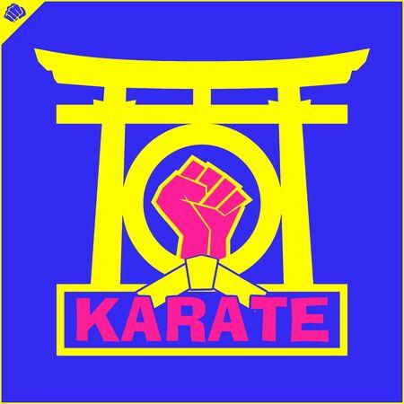 Fighting colored simbol, logo. Karate creative design emblem 일러스트
