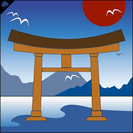 Japan traditional gate torii , sky and mountain Illustration