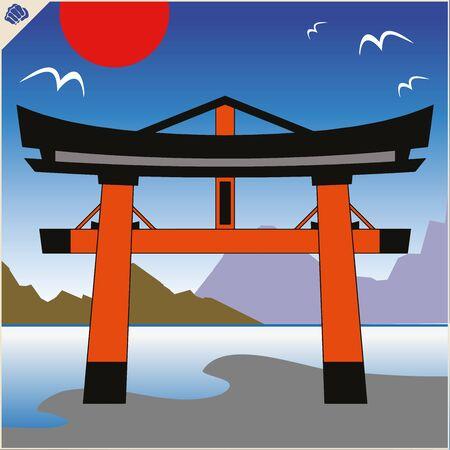 Japan traditional gate torii , sky and mountain. Stockfoto - 130663536