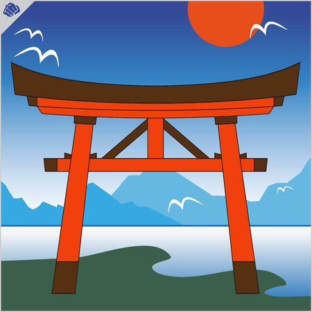 Japan traditional gate torii , sky and mountain.