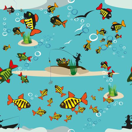 Fishing Fish Beautiful summer hobby Vector cartoon poster EPS