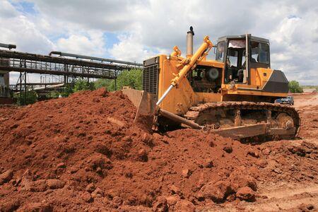 Heavy Power Bulldozer work on a building site