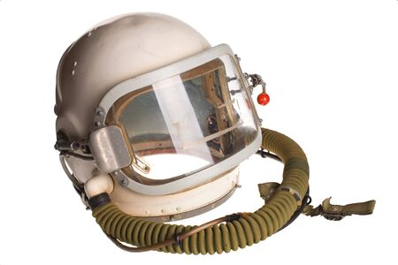 Russian army aviator white helmet on a white background