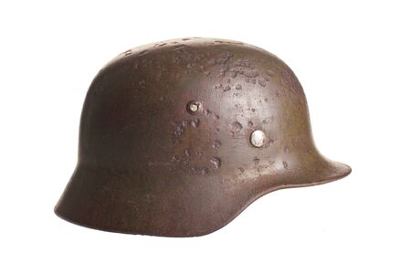 Germany army green helmet on a white background Banco de Imagens