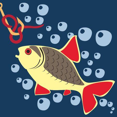 Beautiful Fish. Pattern Fishing. Beautiful summer hobby. Vector poster. 스톡 콘텐츠 - 130661803