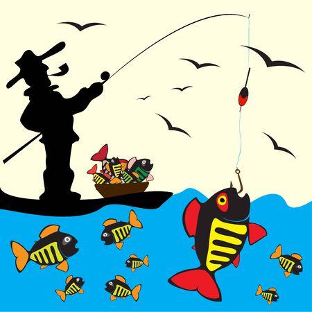 Beautiful Fish. Pattern Fishing. Beautiful summer hobby. Vector poster. 스톡 콘텐츠 - 130661837