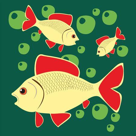 Beautiful Fish. Pattern Fishing. Beautiful summer hobby. Vector poster. Illustration