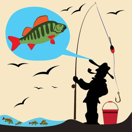 Beautiful Fish. Pattern Fishing. Beautiful summer hobby. Vector poster. 일러스트