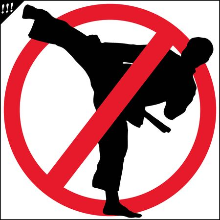 No fighting karate red circle stop sign