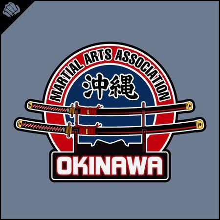 Japanes Samurai sword - katana. Martial arts logo, emblem. Okinawa. Vector EPS Illustration